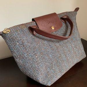 Longchamp medium classic tweed handbag